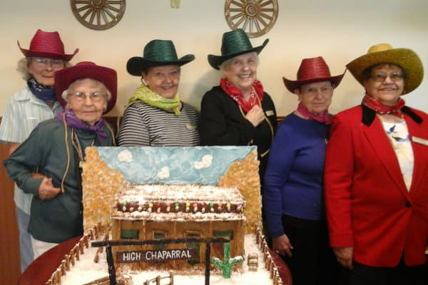 Residents dressed in western clothing at Desert Springs Gracious Retirement Living in Oro Valley, Arizona