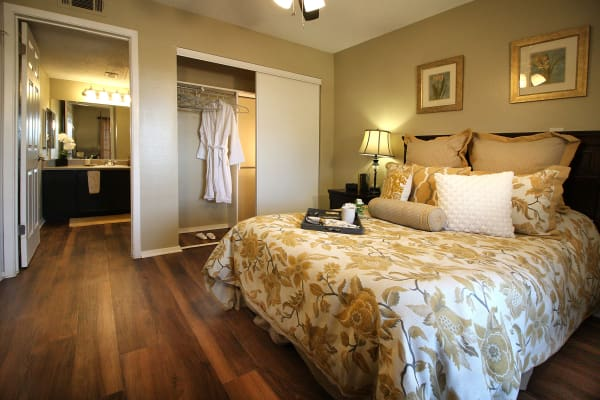 A model bedroom at West Fork Village in Irving, Texas