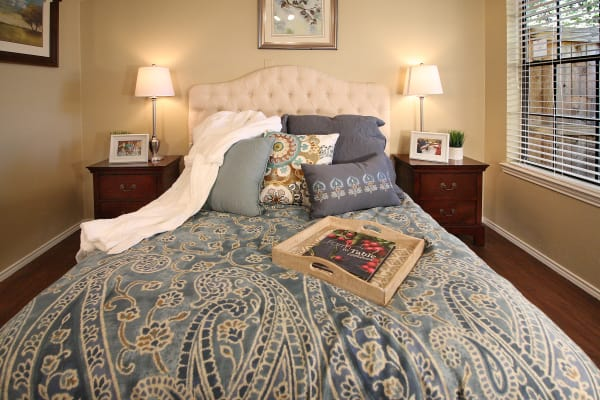 Bedroom model at West Fork Village in Irving, Texas