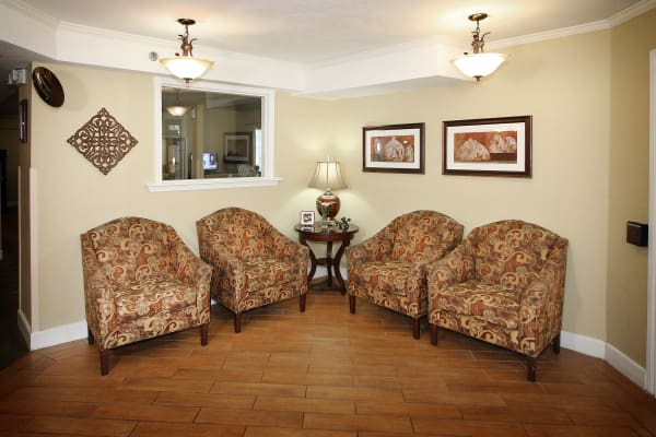 Comfortable seating for residents at West Fork Village in Irving, Texas