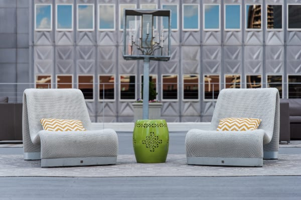 Roof top seating at 400 North Ervay in Dallas, Texas