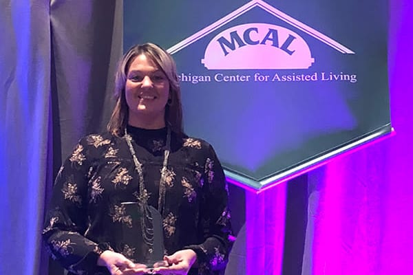 Crystal Sleeter, a house keeper at Brookridge Heights in Marquette, Michigan won a MCAL Hero of Assisted living award!