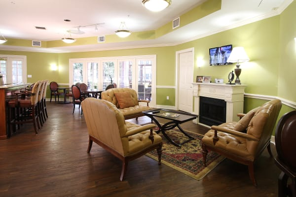 Fireplace and tv room at Reunion Court of Kingwood in Kingwood, Texas