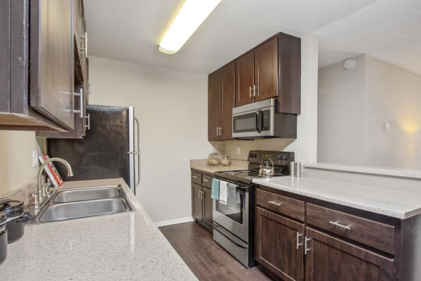 Brown Renovated Kitchen with Stainless Steel Appliances at Shadow Ridge Apartments in Oceanside,