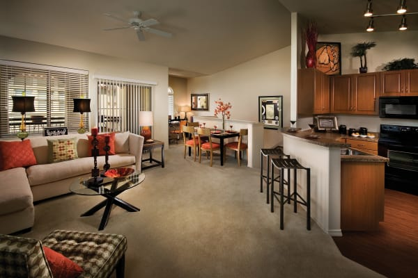 Living room next to the kitchen at Ravenwood Heights in Tempe, Arizona