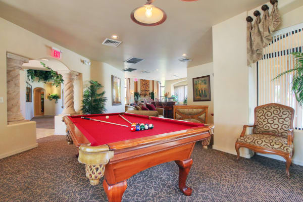 Community pool table in the clubhouse at The Retreat at the Raven in Phoenix, Arizona