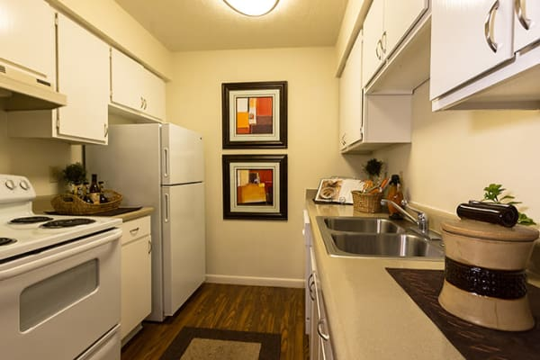 Kitchen in apartment at Riverstone Apartments in Bryan, Texas