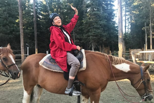 A resident on  a horse at Ivy Creek Gracious Retirement Living in Glen Mills, Pennsylvania
