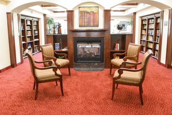 Community library at Ivy Creek Gracious Retirement Living in Glen Mills, Pennsylvania