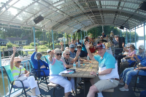 Residents from Julian Estates Gracious Retirement Living in Puyallup, Washington on a boat