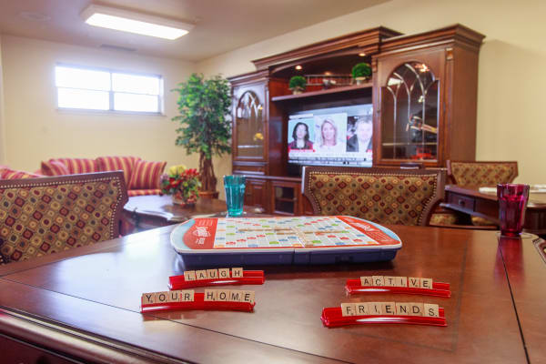 Scrabble on the table at Julian Estates Gracious Retirement Living in Puyallup, Washington