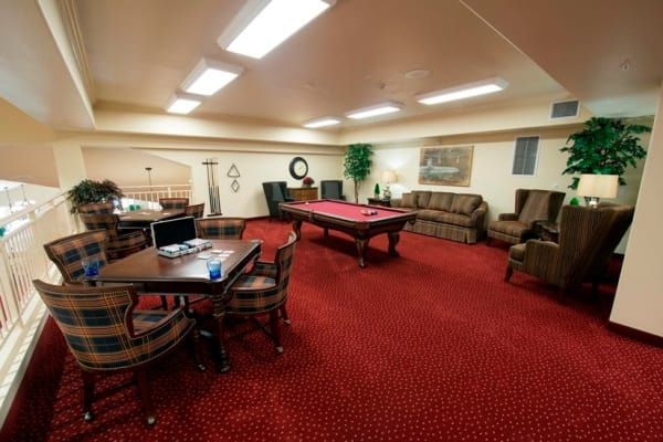 A billiards table for residents at Northridge Gracious Retirement Living in Fishers, Indiana