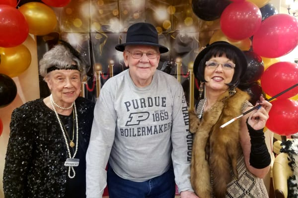 Residents dressed for a themed day at Northridge Gracious Retirement Living in Fishers, Indiana