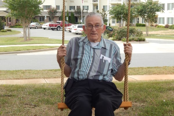 A resident on a swing at Oak Park Retirement in Salisbury, North Carolina