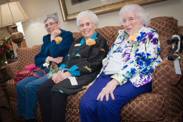 Residents in the lounge at Pioneer Ridge Gracious Retirement Living in McKinney, Texas
