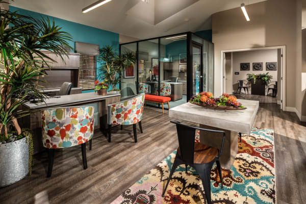 Spacious living room at Sierra Heights Apartments in Rancho Cucamonga, California