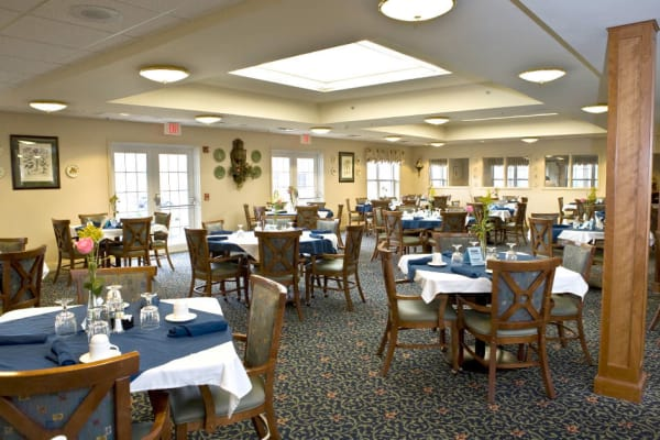 Dining area at the senior facility at Traditions of Hanover in Bethlehem, Pennsylvania