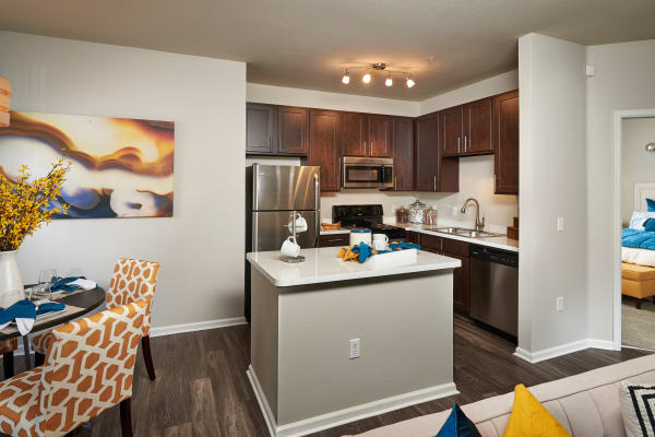 newly renovated brown Kitchen at Bear Valley Park in Denver, Colorado