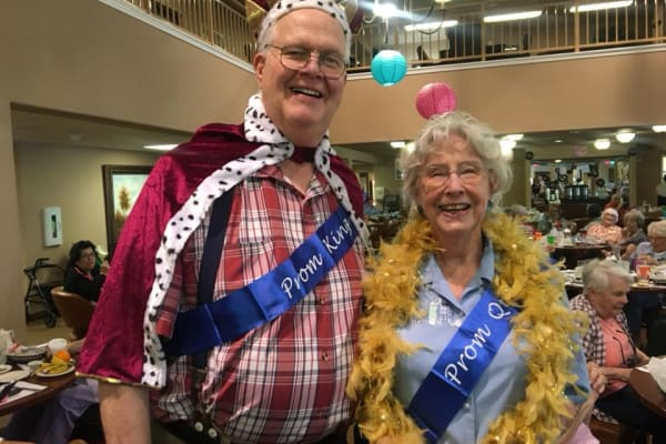 Prom king and queen at Sanford Estates Gracious Retirement Living in Roswell, Georgia
