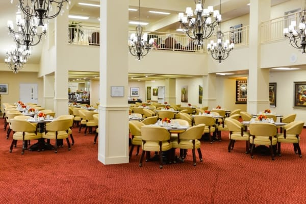 A large dining room at Southern Pines Gracious Retirement Living in Southern Pines, North Carolina