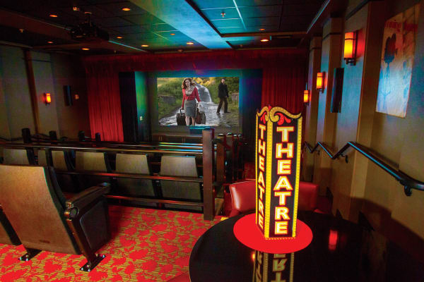 Movie theater at Sterling Heights Gracious Retirement Living in Bethlehem, Pennsylvania