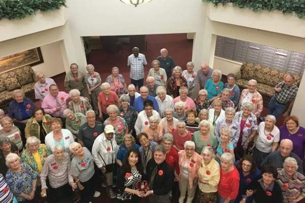A group photo of residents at Summit Glen in Colorado Springs, Colorado