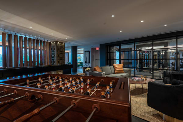 Luxurious clubhouse with modern decor and panoramic views at Bayou on the Bend in Houston, Texas