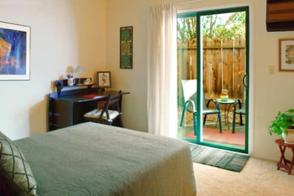 Master bedroom at 7th Street Manor in Chico, California