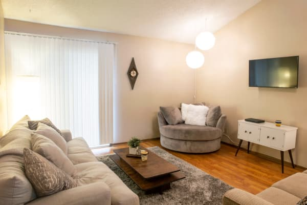 Apartment living room at Westwood Village in Ames, Iowa