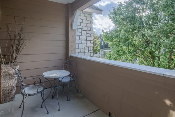 Private balcony at Stonehaven Villas in Tulsa, Oklahoma