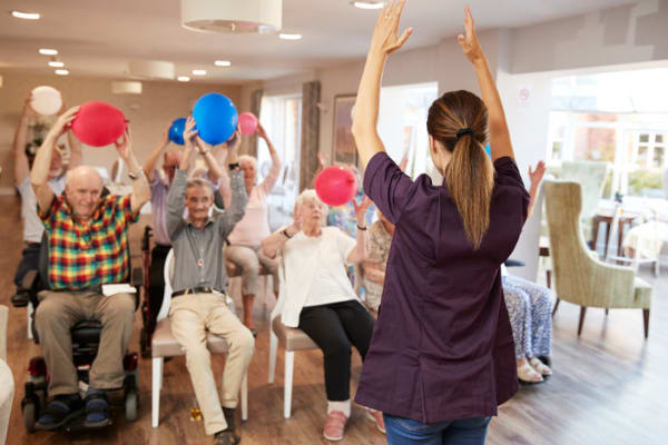 Exercise class at Avenir Memory Care at Chandler in Chandler, Arizona.