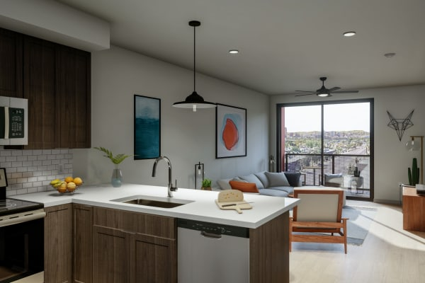 Contemporary open-floor plan with balcony access at The Astor at Osborn in Phoenix, Arizona