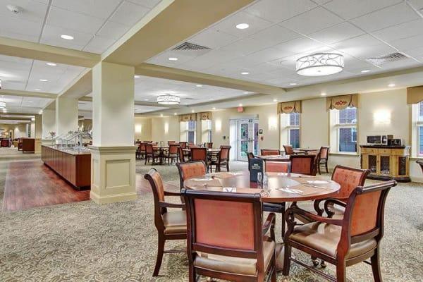 Dining area at the senior facility at Keystone Villa at Ephrata in Ephrata, Pennsylvania