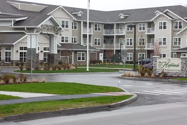Building exterior of The Highlands Gracious Retirement Living in Westborough, Massachusetts