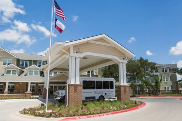 Building exterior of The Oaks Gracious Retirement Living in Georgetown, Texas