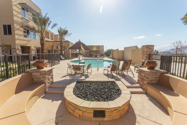 The community pool at The Palms at LaQuinta Gracious Retirement Living in La Quinta, California