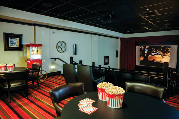 The movie theater at Whispering Pines Gracious Retirement Living in Raleigh, North Carolina