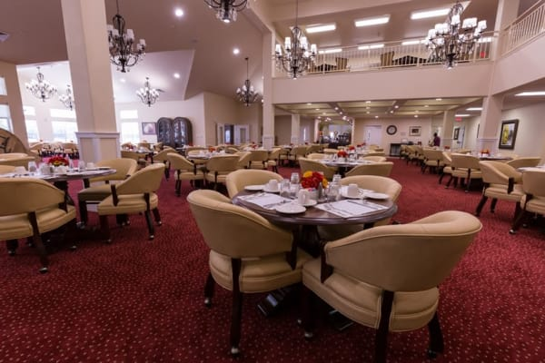 The dining room at Willow Creek Gracious Retirement Living in Chesapeake, Virginia