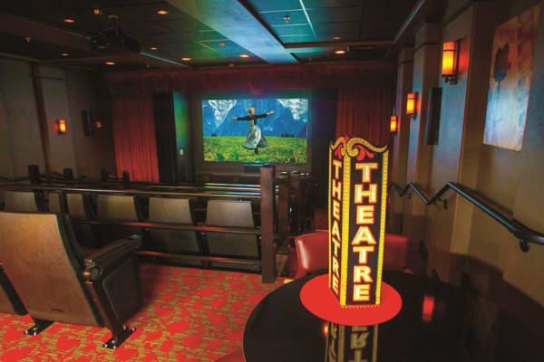 A movie theater at Willow Creek Gracious Retirement Living in Chesapeake, Virginia