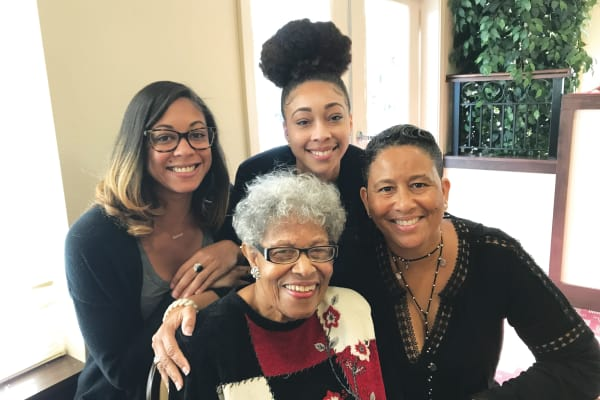 A resident and her family at Mulberry Gardens Assisted Living in Munroe Falls, Ohio