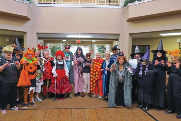 Residents on Halloween at Mulberry Gardens Assisted Living in Munroe Falls, Ohio