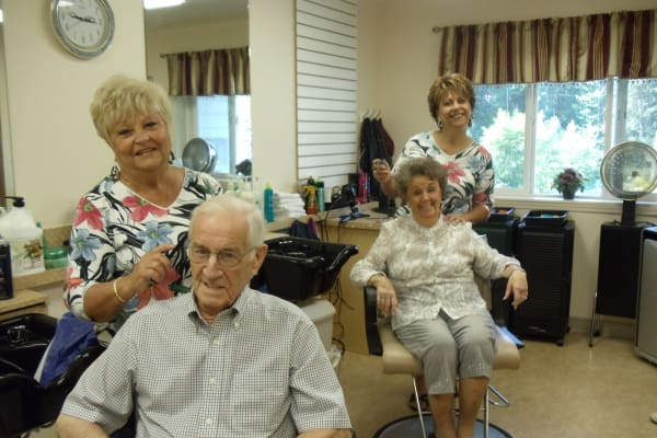Residents in the hair salon at Mulberry Gardens Assisted Living in Munroe Falls, Ohio