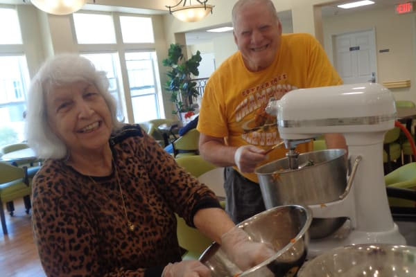 Residents coking at Mulberry Gardens Memory Care in Munroe Falls, Ohio