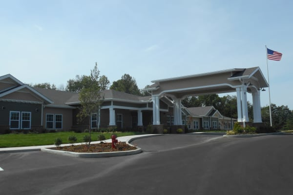 Building exterior of Mulberry Gardens Memory Care in Munroe Falls, Ohio