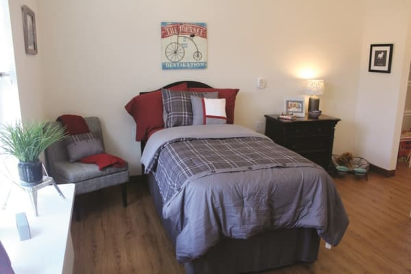 A bedroom at Mulberry Gardens Memory Care in Munroe Falls, Ohio