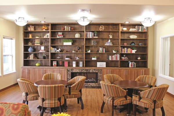 A quiet reading room at Mulberry Gardens Memory Care in Munroe Falls, Ohio