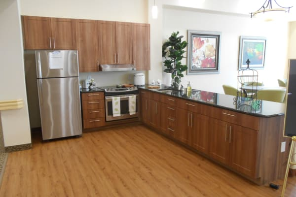A community kitchen at Mulberry Gardens Memory Care in Munroe Falls, Ohio