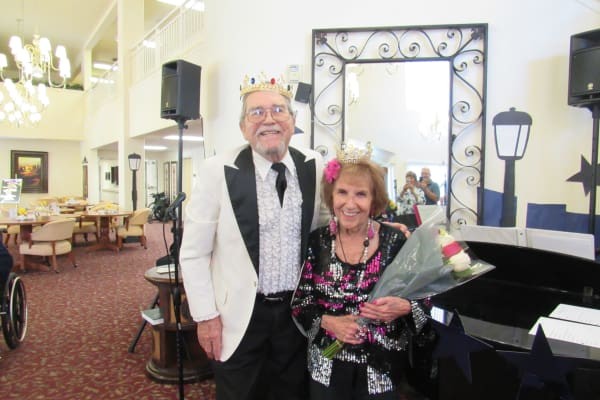 Prom king and queen at Palms at Bonaventure Assisted Living in Ventura, California