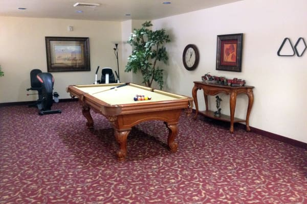 A billiards table at Palms at Bonaventure Assisted Living in Ventura, California