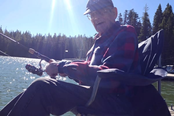 A resident of Stoneybrook Assisted Living in Corvallis, Oregon fishing